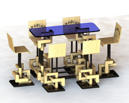 Bar table with chairs for exhibition kiosk