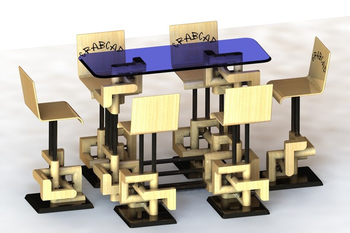 Bar table with chairs for exhibition kiosk step iges