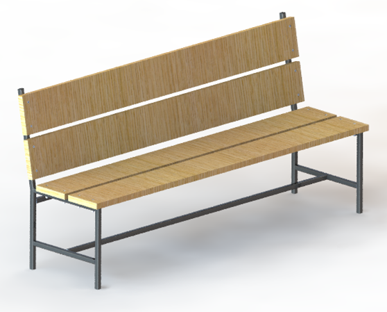 Super Wooden Bench With Pipe Structure 3D Cad Model Library Ibusinesslaw Wood Chair Design Ideas Ibusinesslaworg