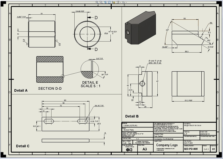 Hinge Heavy Duty With Drawings 3d Cad Model Library