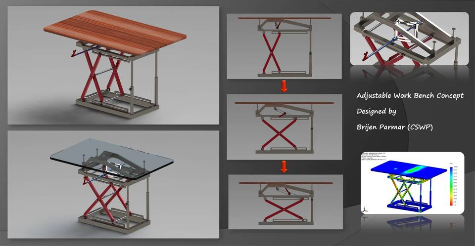 Table Height Adjustment Mechanism D CAD Model Library GrabCAD - Adjustable height table mechanism