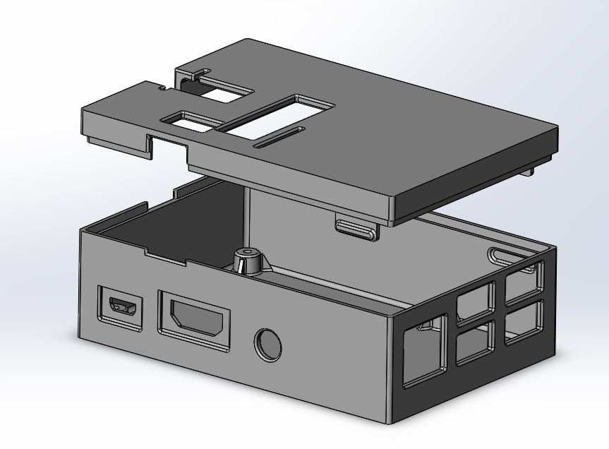 Raspberry PI case for RGB Matrix Hat | 3D CAD Model Library