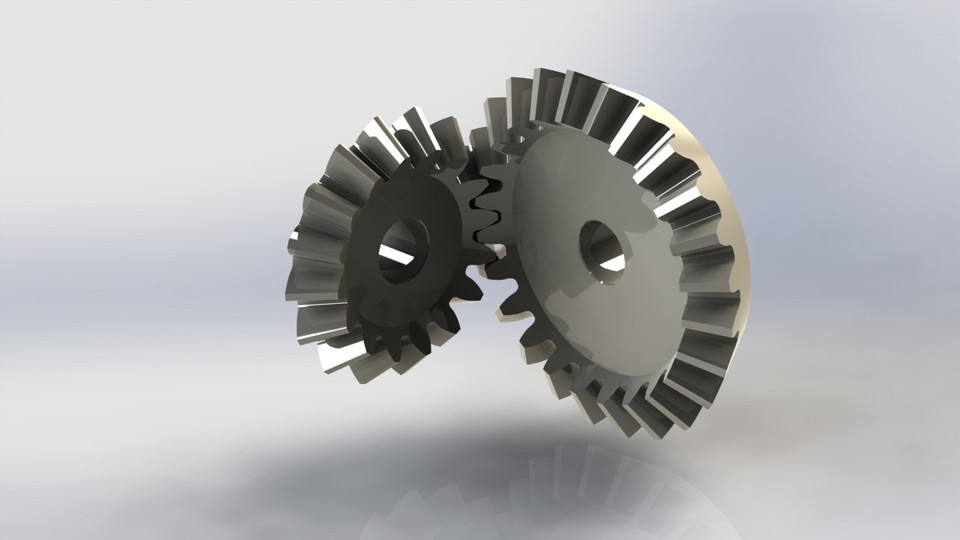 Bevel Gears (24T - 16T, M=3, Ratio 1:1 5)   3D CAD Model