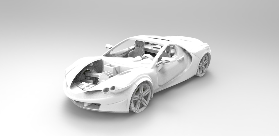 3D Printable Model Car with movable doors, hoods, wheel and