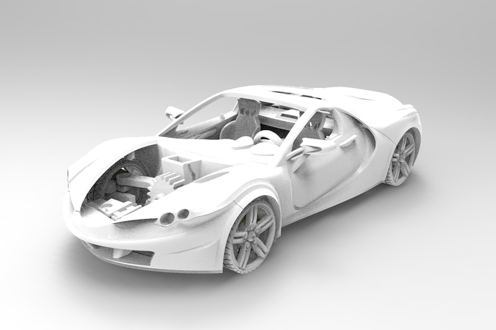 3D Printable Model Car with movable doors, hoods, wheel and sterring wheel