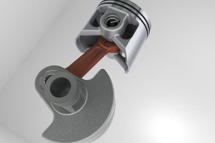 Crank And Slider Uses : Two stroke slider crank mechanism stl step iges d