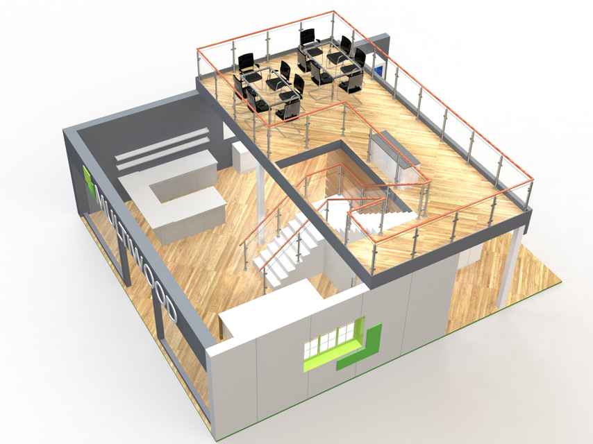 Exhibition Stand Double Decker : Double deck exhibition stand 3d cad model library grabcad