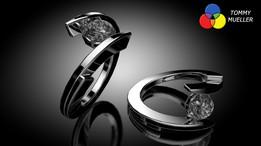 Split-Spiral Diamond Ring
