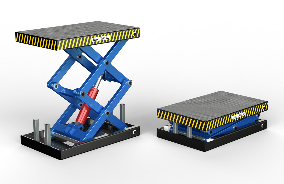 Hydraulic lifting table | 3D CAD Model Library | GrabCAD