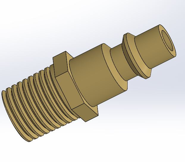 Quot npt brass air fitting d cad model library grabcad
