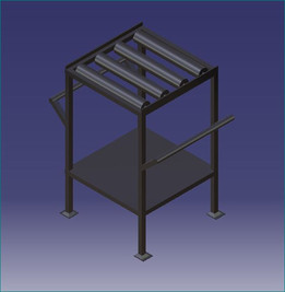 Kitting table with rollers