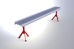 Conveyor, Food processing, Roller system with tripod supports.