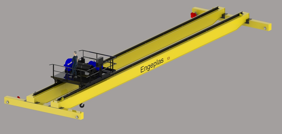 Overhead Crane Autocad Drawing : Bridge crane t autocad solidworks d cad model grabcad