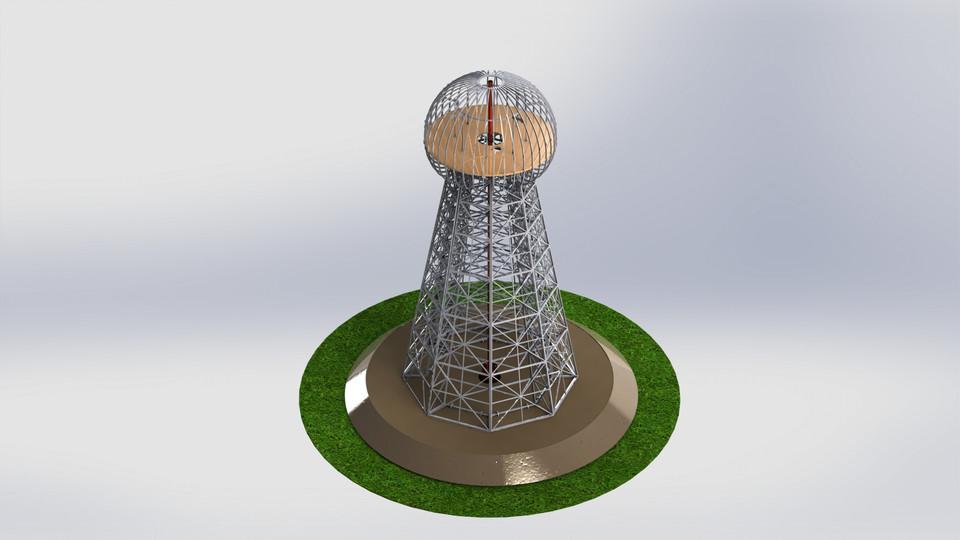 Tesla Tower Wardenclyffe Tower Sheetmetal Puzzle 3d