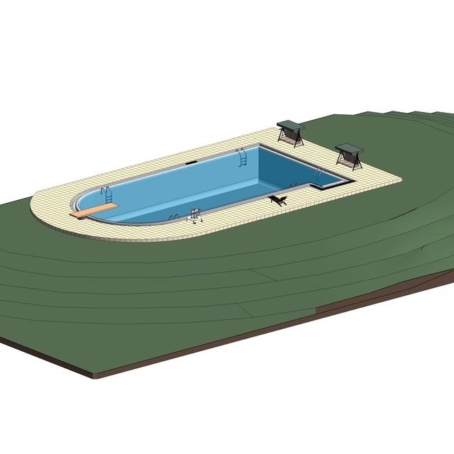 Swimming Pool Autodesk Revit 3d Cad Model Grabcad