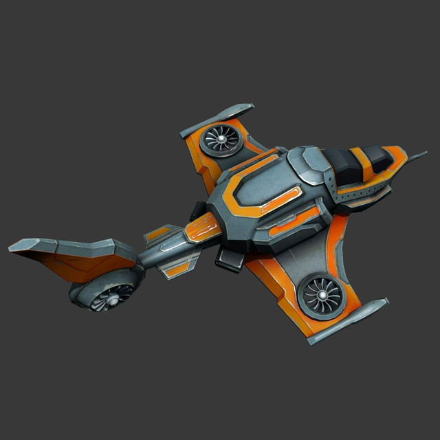 Sci-fi Spaceship - low poly | 3D CAD Model Library | GrabCAD
