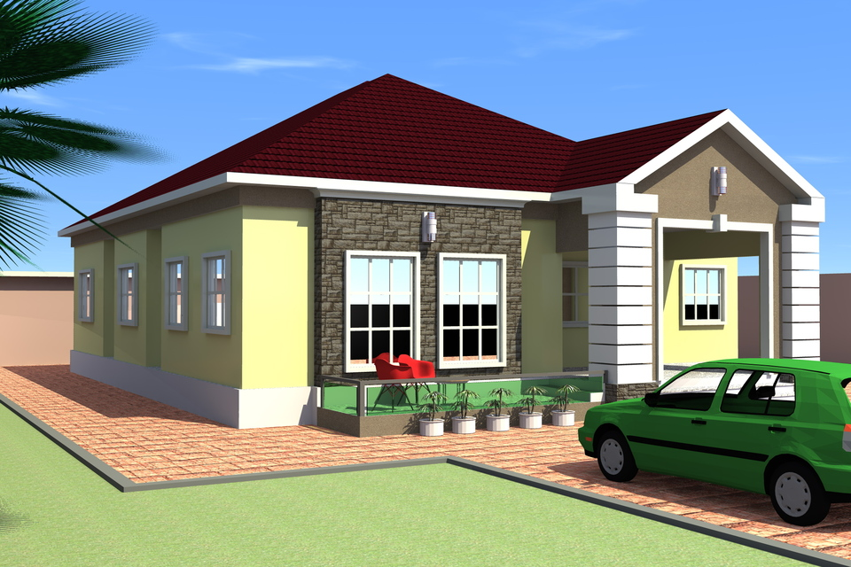 . 4 Bedroom bungalow   3D CAD model   GrabCAD