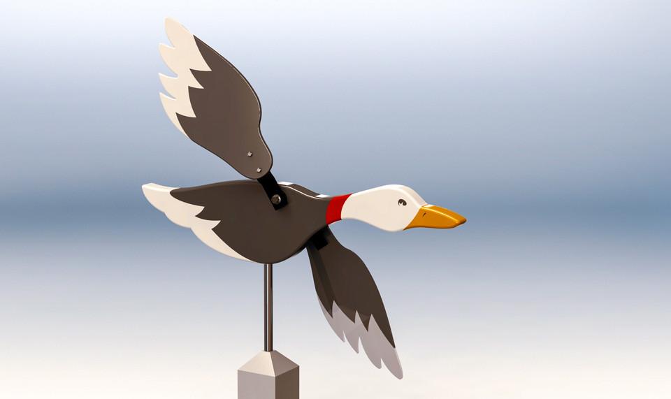 Flying Duck Weathervane 3d Cad Model Library Grabcad