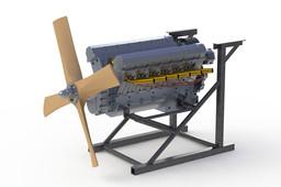 Olsryd V12 Merlin Engine on test stand