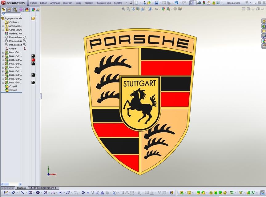 Logo Porsche Solidworks Step Iges Stl 3d Cad Model Grabcad