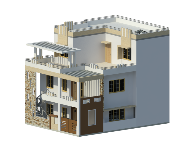 Residential Duplex Building 3d Cad Model Library Grabcad