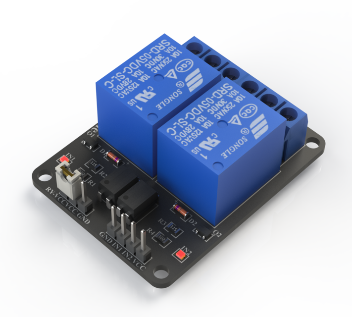 2 Channel 5V Arduino Relay Board | 3D CAD Model Library | GrabCAD