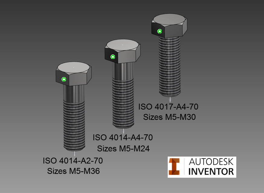 Bolts, ISO 4014 & 4017 (SS) | 3D CAD Model Library | GrabCAD
