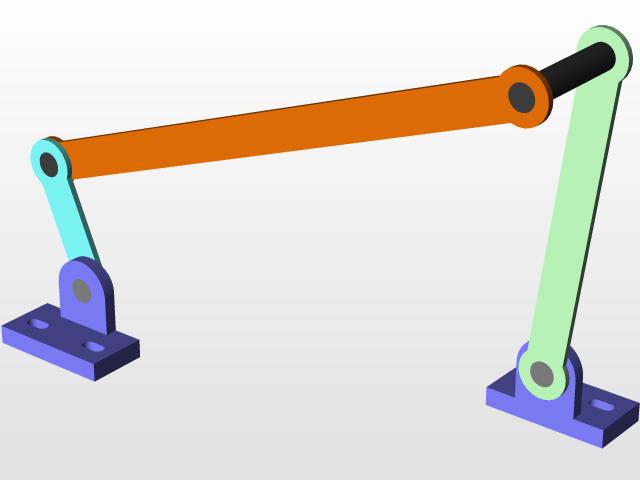 Crank Rocker Four bar Mechanism | 3D CAD Model Library | GrabCAD