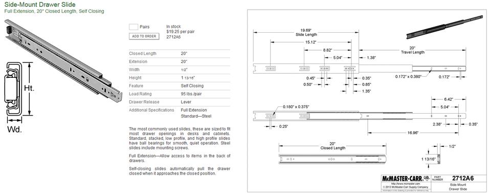 Drawer Slide Side Mount Mmc 2712a6 3d Cad Model