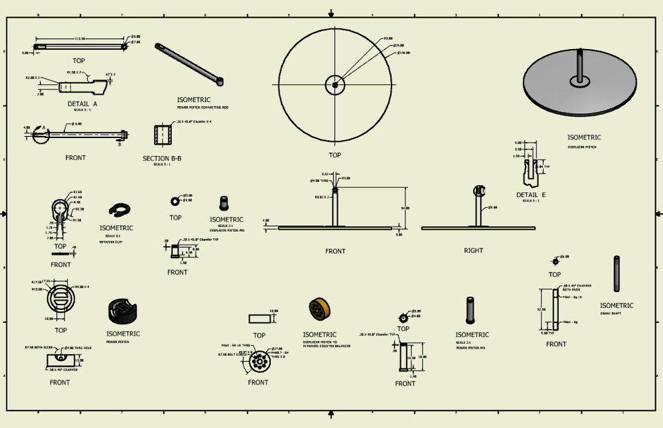 Detail drawings of a stirling engine autodesk inventor 3d cad model grabcad for Stirling engine plans design blueprints
