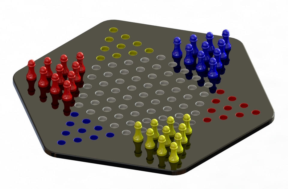 graphic regarding Printable Checkers Board called Chinese Checkers - 3D Printable Board Match 3D CAD Style
