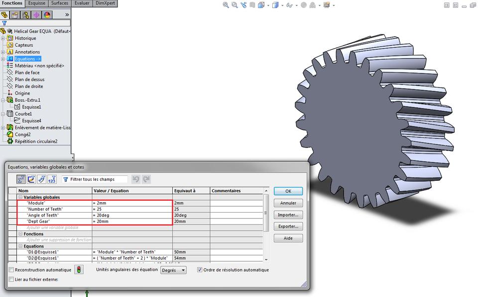 Helical Gear (Equations) | 3D CAD Model Library | GrabCAD