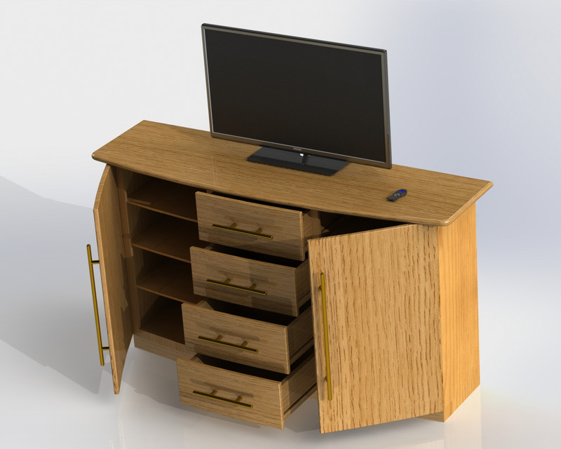 Bedroom Dresser/TV Stand | 3D CAD Model Library | GrabCAD