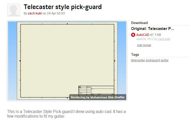 Telecaster Style Pick-guard | 3D CAD Model Library | GrabCAD