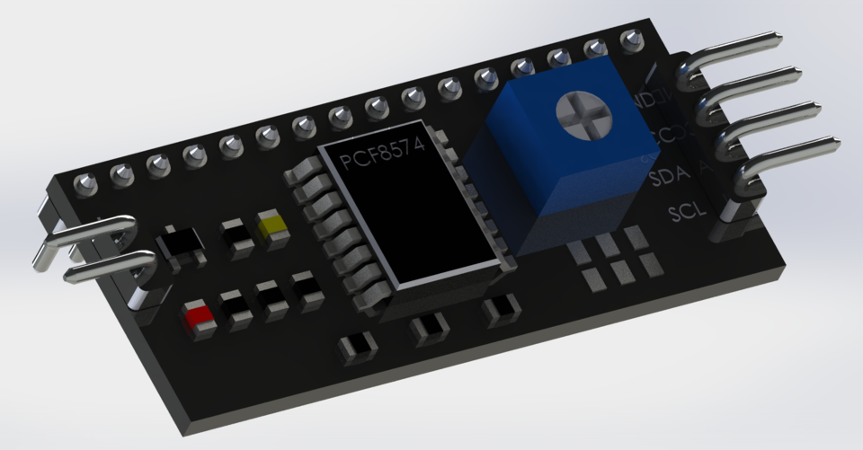 IIC/I2C/TWI LCD PCF8574 Board Module | 3D CAD Model Library | GrabCAD
