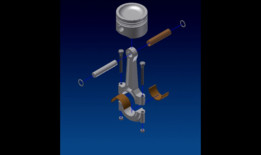 Engine piston and connecting rod design and assembly animation