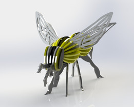 "My ""Bumble"" Bee, yellow jacket, wasp, sheet metal puzzle, metalcraftdesign, 3d model, puzzle, insect"