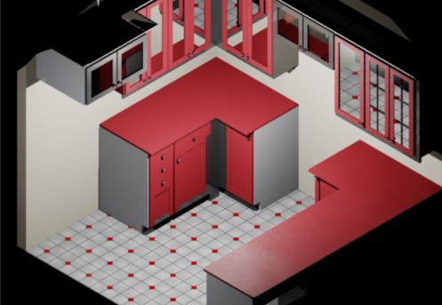 Kitchen cabinets solidworks stl 3d cad model grabcad for Kitchen set 2d