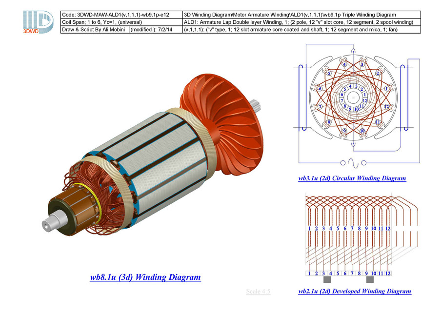 3D Winding Diagram-ALD1(v,1,1,1) | 3D CAD Model Library | GrabCAD