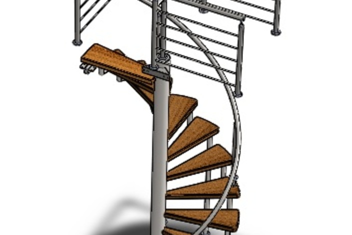 Spiral staircase solidworks 3d cad model grabcad Spiral stair cad