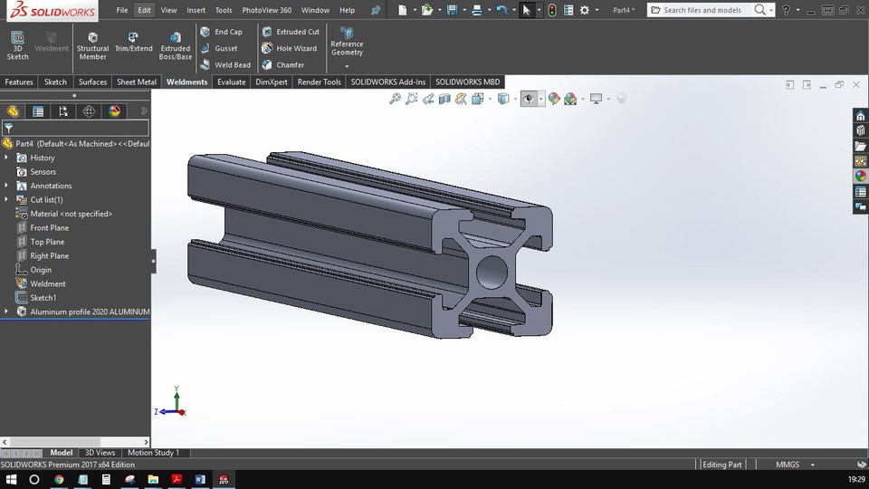 2020 Weldment Profile Solidworks | 3D CAD Model Library