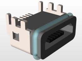 USB Micro-B waterproof type Molex 105443-1101 (may deviate from datasheet)