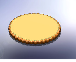 polyhedral edges of an round object  on a biscuit