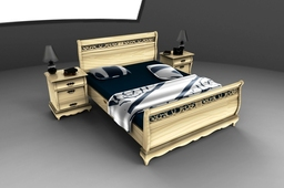 Rustic Bedroom(Double Bed and Bed Side Tables*Detailed parts)