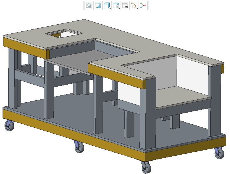 Mobile Workbenches For Garages : Mobile workbench d cad model library grabcad