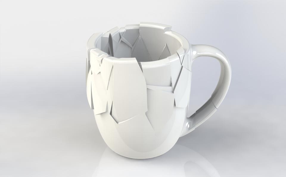 Broken Cup Stl Step Iges Solidworks 3d Cad Model