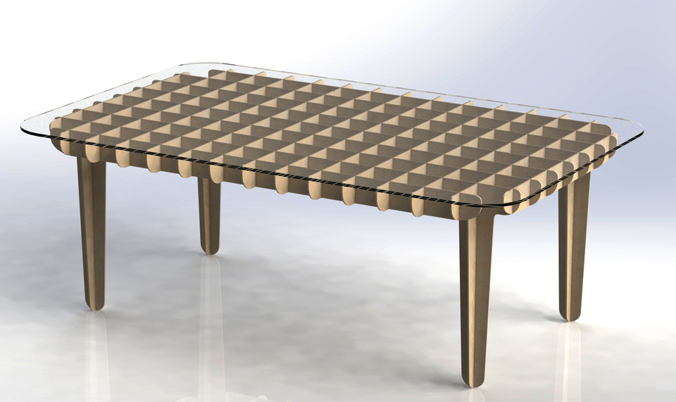 Flat Pack Coffee Table   3D CAD Model Library   GrabCAD