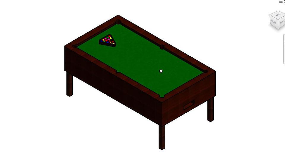 Pool Table D CAD Model Library GrabCAD - Revit pool table