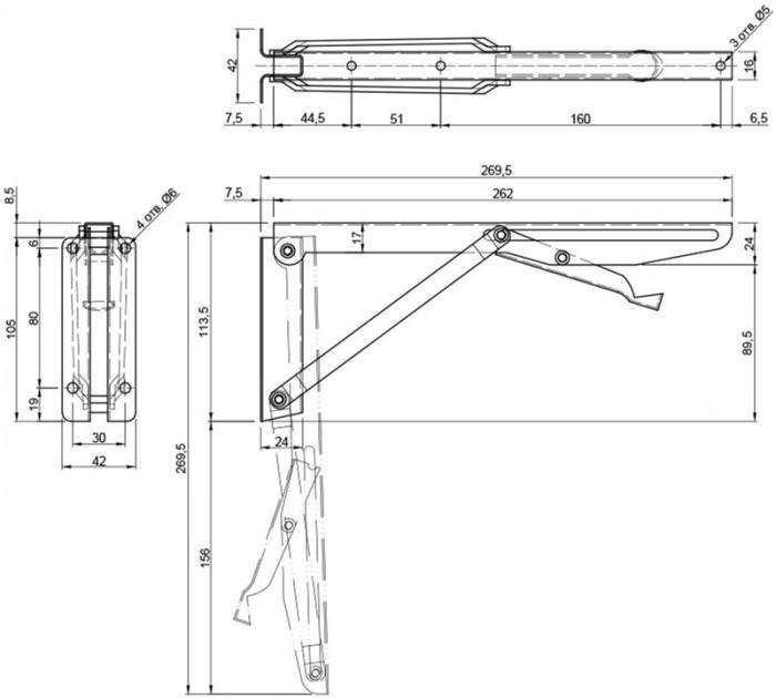 Mechanism for a folding table SMART 40kg (84312) | 3D CAD Model Library |  GrabCADGrabCAD