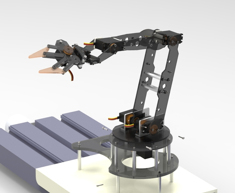 Rc Servo Robot Arm 4dof 3d Cad Model Library Grabcad